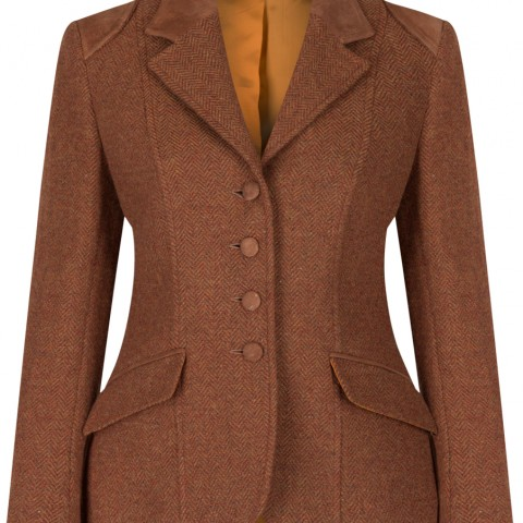 women's rust coloured tweed jacket