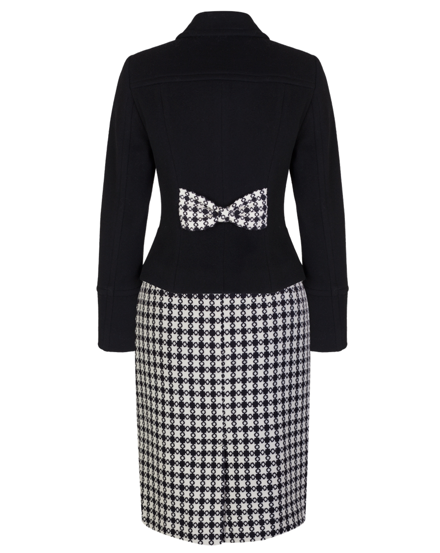 Ladies Black And White Dog Tooth Check Skirt Size