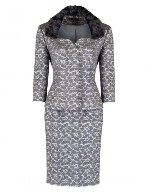 ladies silver jacquard suit