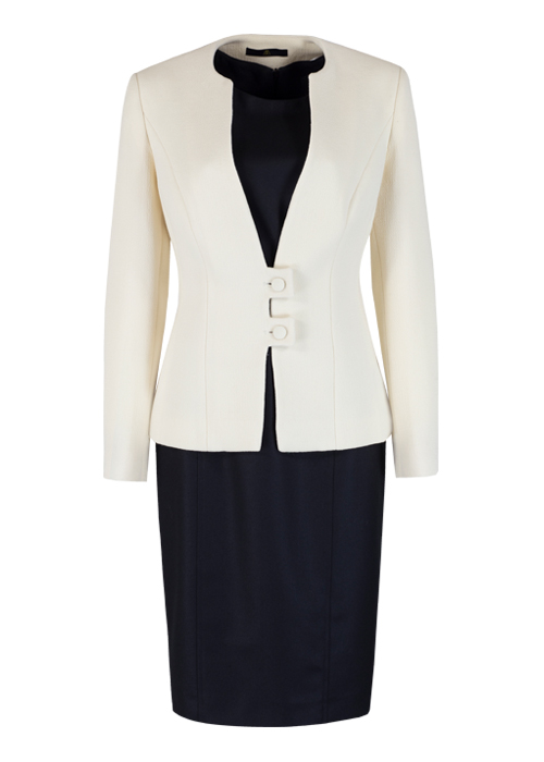 Pure New Wool Black Dress & Cream Jacket
