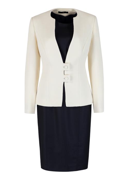 Pure New Wool Black Dress & Cream Jacket