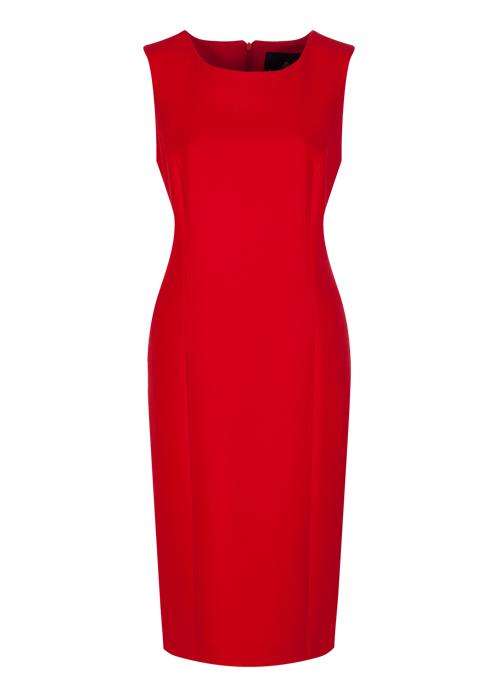red wool crepe shift dress