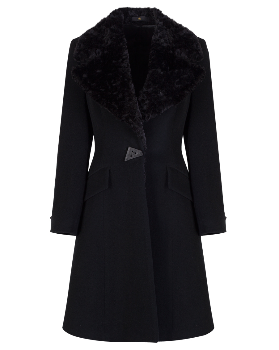Black A-line Luxury Wool & Cashmere Coat (MA1010A)