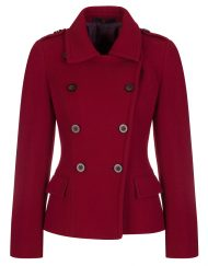 Short red military coat in pure wool